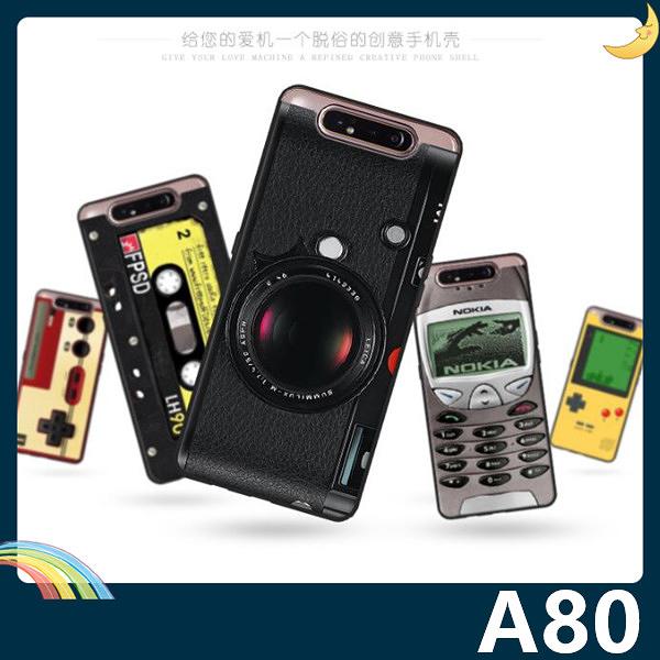 三星 Galaxy A80 復古偽裝保護套 軟殼 懷舊彩繪 計算機 鍵盤 錄音帶 矽膠套 手機套 手機殼