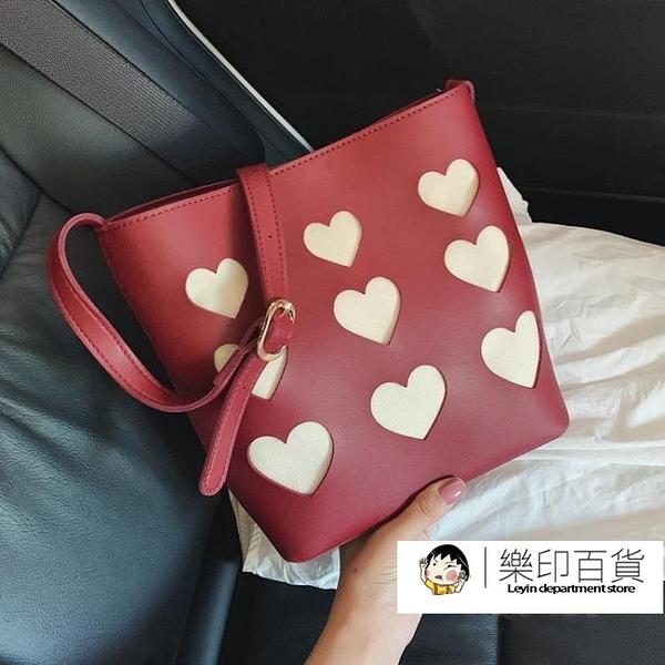 網紅創意包包女2020夏季新款潮韓版百搭質感斜挎包洋氣時尚水桶包「樂印百貨」