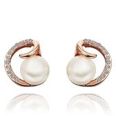 耳環 純銀鍍18K金 珍珠-氣質鑲鑽生日情人節禮物女飾品3色73cg251【時尚巴黎】