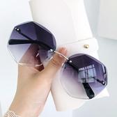 太陽眼鏡韓版新款墨鏡女ins潮圓臉防紫外線網紅無框太陽鏡大框眼鏡【免運快出】
