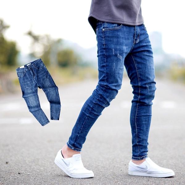 牛仔褲 深藍微刷色無抓破素面窄版牛仔褲【NB0903J】