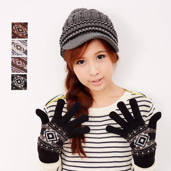 【MIT台灣製】台灣製 雙層內裡+羽毛紗針織手套 - 菱型款 (五色)