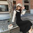 【GZ21】針織洋裝 撞色修身顯瘦毛衣裙喇叭袖針織打底連身裙