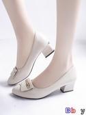 【貝貝】豆豆鞋 淺口單鞋粗跟中跟時尚黑色工作小皮鞋懶人女鞋子
