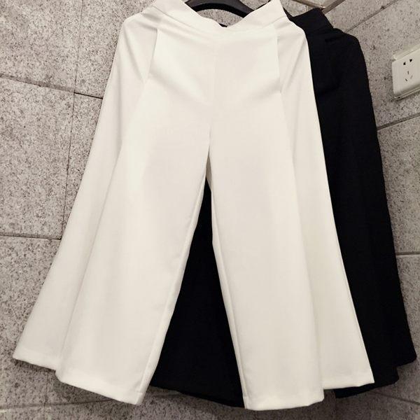 618大促白色高腰闊腿褲女夏開叉七分褲雪紡九分褲