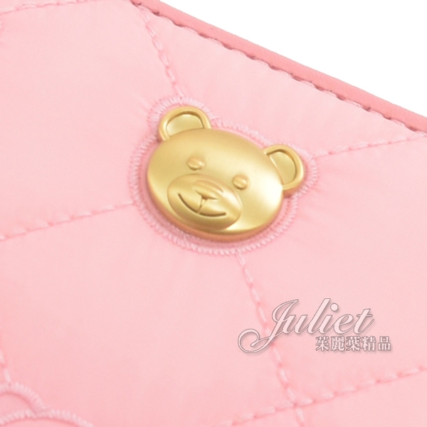 茱麗葉精品【全新現貨】MOSCHINO 小熊LOGO刺繡泰迪熊尼龍手提式長夾.粉