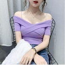 露肩上衣 2020夏季新款性感壹字肩露肩鎖骨紫色上衣設計感小眾短袖t恤女潮 CY