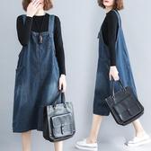 大碼連身裙微胖妹妹洋氣減齡寬鬆純色牛仔背帶裙秋裝2020年新款女 伊蘿