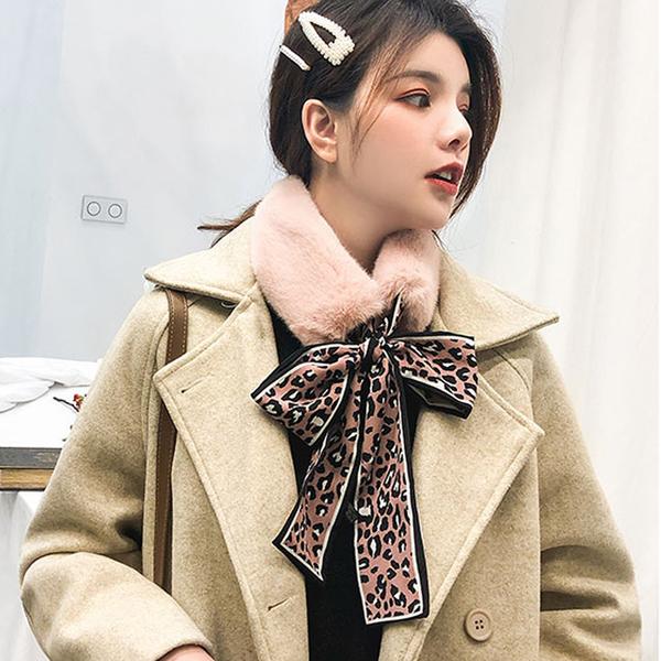 韓風毛絨豹紋蝴蝶結圍脖(5色)