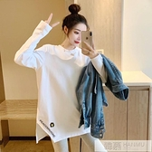 白色中長款T恤女2020秋裝新款韓版寬鬆破洞上衣服百搭體恤打底衫  萬聖節狂歡
