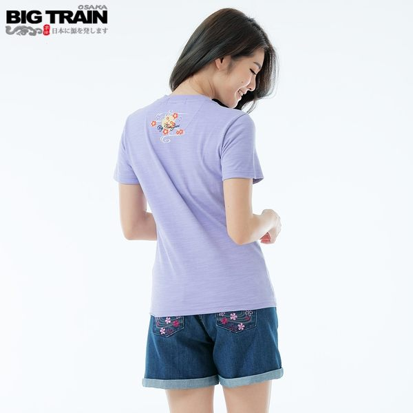 BigTrain和風元氣貓短袖女T-女-丈青/黑