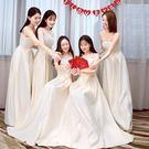 年會禮服裙女冬季伴娘服長款姐妹團伴娘服新款伴娘禮服 姐妹裙