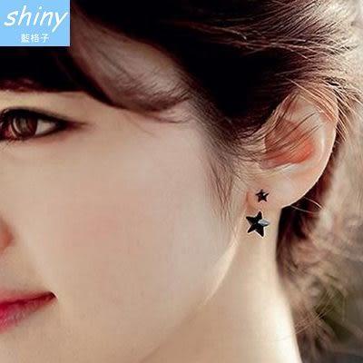 【30A65】shiny藍格子-純淨感覺.時尚個性氣質雙星耳環