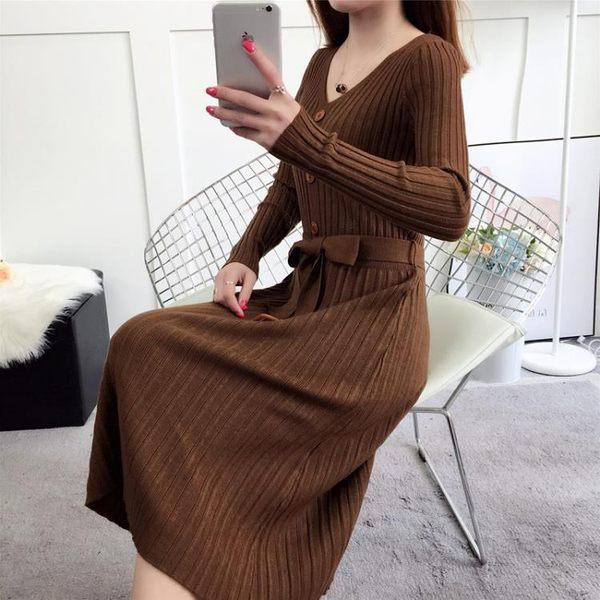秋冬連身裙女長袖韓版2018新款顯瘦修身中長款過膝針織打底毛衣裙 喵小姐