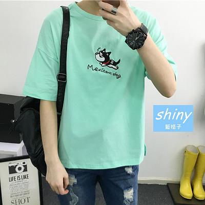 【Y081】shiny藍格子-可愛時尚.夏季小狗字母刺繡圓領短袖T恤