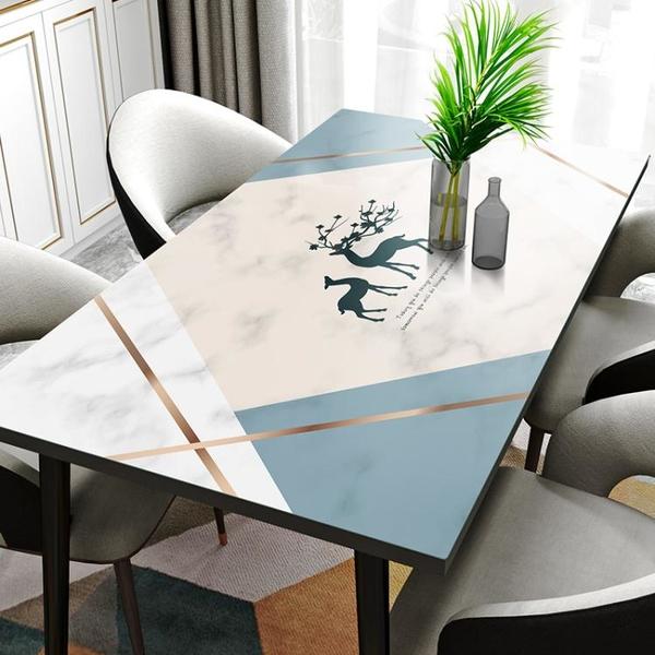 【硅膠桌墊】大理石紋防水防油防燙免洗北歐家用電視櫃茶幾餐桌布 「夢幻小鎮」