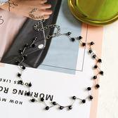 簡約百搭黑水晶短款鎖骨鍊女韓國個性項鍊