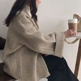 韓系韓國東大門韓版慵懶風寬鬆毛衣喇叭袖外套女學生百搭中長款針織開2F112-C.9765胖胖唯依