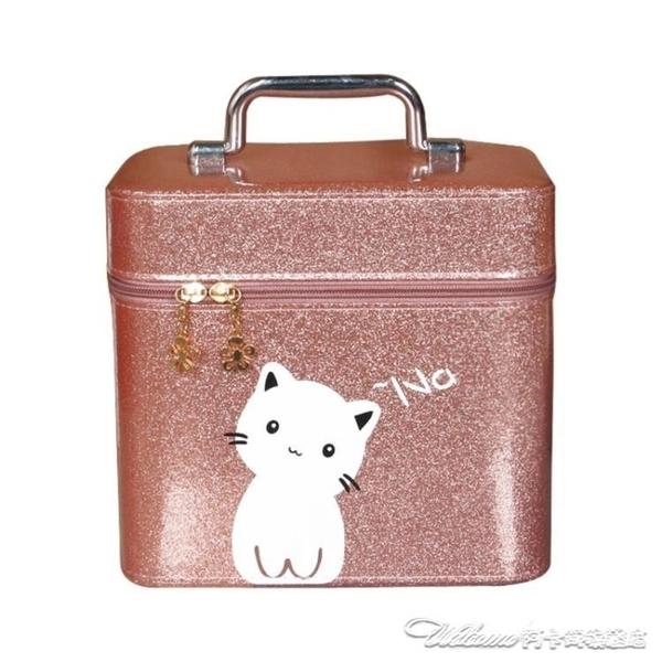 化妝包 大容量網紅小號便攜少女可愛收納盒ins簡約化妝箱手提 阿卡娜