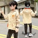 秋季中大童百搭夾克外套 時尚休閒男童外套 簡約風衣男童外套 拼色潮流外套 男童外套韓版外套