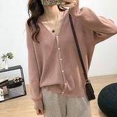 針織開衫 韓版簡約寬鬆V領柔軟單排扣純色針織開衫女春裝新款大碼休閒外套