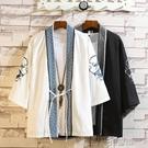 夏季超薄外套男七分袖披風防曬衣刺繡中國風寬松開衫雪紡外衣道袍 3C優購