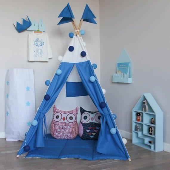 【發現。好貨】韓國藍白純棉寶寶帳篷 寶寶嬰兒遊戲屋 野餐帳篷 兒童拍攝道具