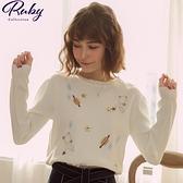 上衣 刺繡星球針織長袖上衣-Ruby s 露比午茶