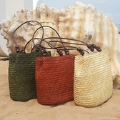 沙灘包 手提草編包-可肩背木珠純色麥草編織包3色73pp470【時尚巴黎】