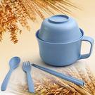 泡麵碗 小麥秸稈帶蓋帶勺子筷子叉子大號面碗大面碗 nm5808【pink中大尺碼】