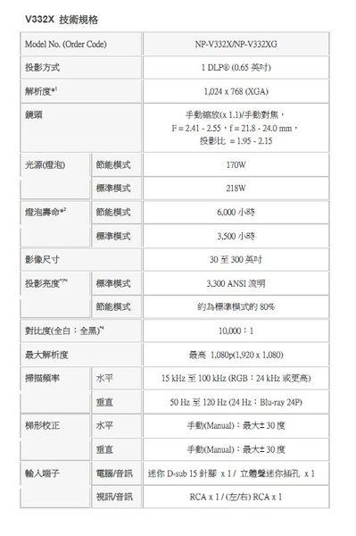 NEC V332XG  3300 ANSI流明 投影機 NEC V332X◎順芳家電◎