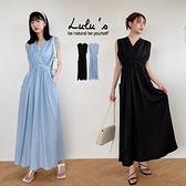 LULUS【A02210137】CV領縮腰綁帶洋裝2色