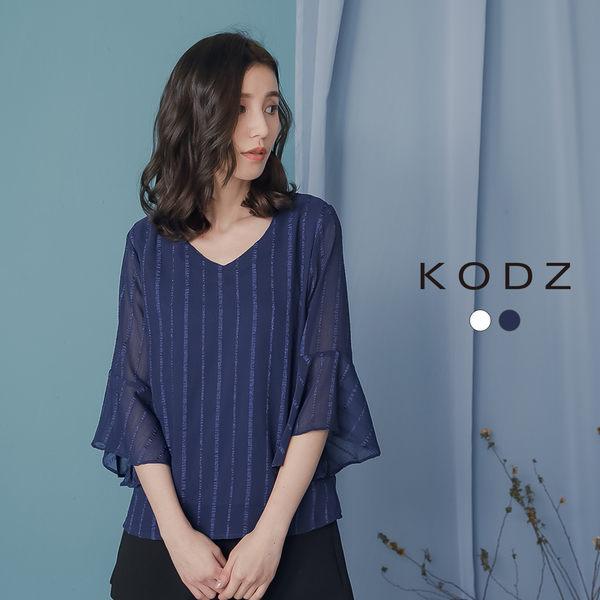東京著衣【KODZ】KODZ-知性典雅V領條紋荷葉寬袖上衣-S.M.L(190076)