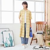 【Tiara Tiara】百貨同步新品aw 格紋排扣開襟洋裝(水藍/黃)