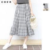 中長裙 棉麻裙 格紋裙 荷葉裙 現貨 免運費 日本品牌【coen】