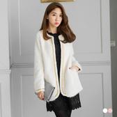 《EA1787-》素色珍珠毛金線滾邊綴珍珠造型開襟寬鬆外套.2色 OB嚴選