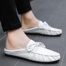 夏季包頭半拖鞋男士皮鞋休閒韓版懶人豆豆潮鞋無跟涼拖夏天涼鞋子 3C優購