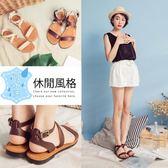 Ann'S水洗牛皮-復古氣息交叉寬版平底涼鞋-咖