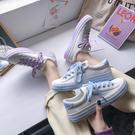 小白鞋女秋季帆布鞋女新款運動板鞋女韓版ulzzang餅乾鞋學生