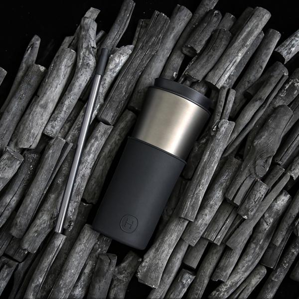 HYDY 午夜黑-鈦灰 兩用隨行保溫杯 450ml