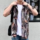 短袖襯衫 棕櫚樹 滿版印花 古巴領花襯衫【CM046】 韓國 夏威夷衫 嘻哈 街頭 夏日必備 搭配