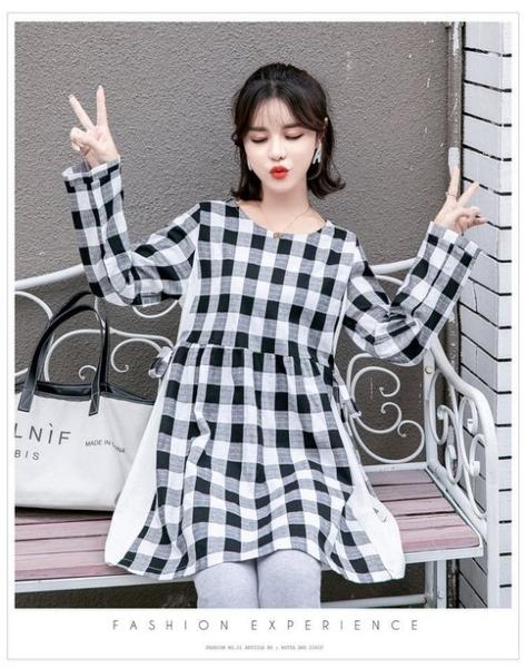漂亮小媽咪 韓系格子裙 【D2039】 拼接 格紋 格子中長款孕婦連身裙 孕婦裝