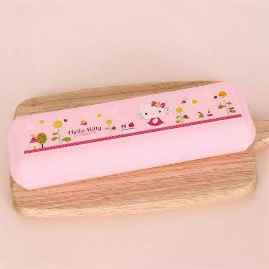 〔小禮堂〕Hello Kitty 長方形塑膠掀蓋餐具盒《粉.花朵》收納盒.置物盒 8806196-70341