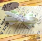 【YT店髮飾】花朵典雅粉綠蝴蝶結髮夾/髮飾/頭飾/彈簧夾(G024)