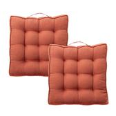 (組)新素色織紋胖胖墊50x50cm 橘紅色2入