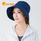 UV100 防曬 抗UV-淑女寬簷漁夫帽-馬尾洞