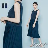 .GAG GLE超大尺碼.【17060007】清新無印風圓領百摺裙背心洋裝 2色