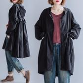 大碼外套 2020新款韓版寬松遮肉顯瘦中長款連帽風衣外套