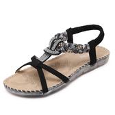 新款民族風涼鞋 波西米亞水鑽平底鞋沙灘鞋【多多鞋包店】z7367