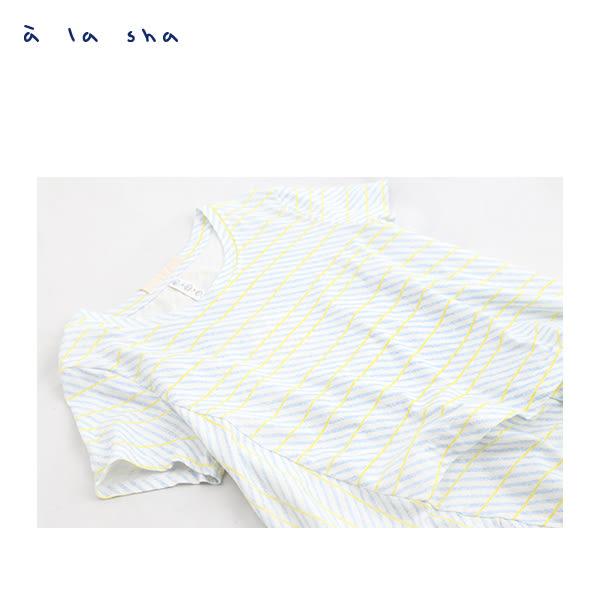 a la sha 蠟筆條紋短袖長版上衣